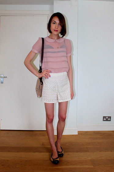 Ella Catliff - Topshop Blouse, Sister Jane Broderie Anglaise Shorts, Anne Bowes Jewellery Charm Necklace, Whistles Mini Satchel - Broderie & Blush