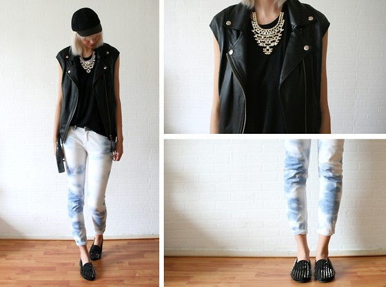 Sietske L - Monki Cap, H&M Necklace And Leather Vest, Zara Top And Jeans, Romwe Spiked Loafers - Sporty tie dye
