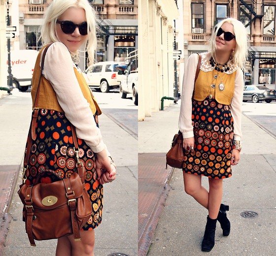 Hannah Riley - See By Chloé Dress, Pinkyotto Blouse, Thrifted Boots, Mulberry Bag - SoHo Strolls