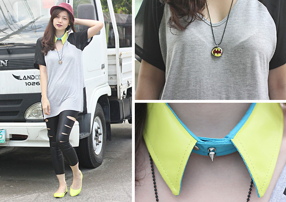 Bea Benedicto - F&H Neon Green Spiked Collar, El Jecho Batman Necklace, Sm Maroon Fedora - Gotham City