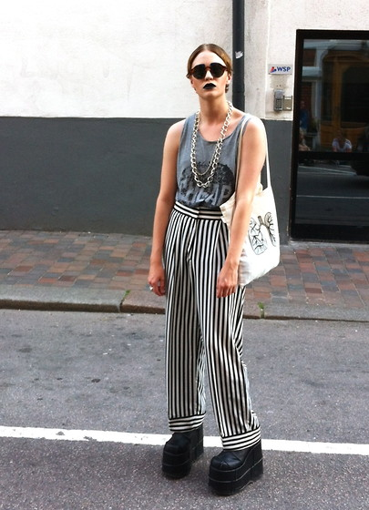 Christian Meltzer - H&M Sunnies, Borrowed From Http://Lookbook.Nu/Clarafina Chains, Cheap Monday Top, H&M Trousers, Demonia Platform Boots - CRY BABY