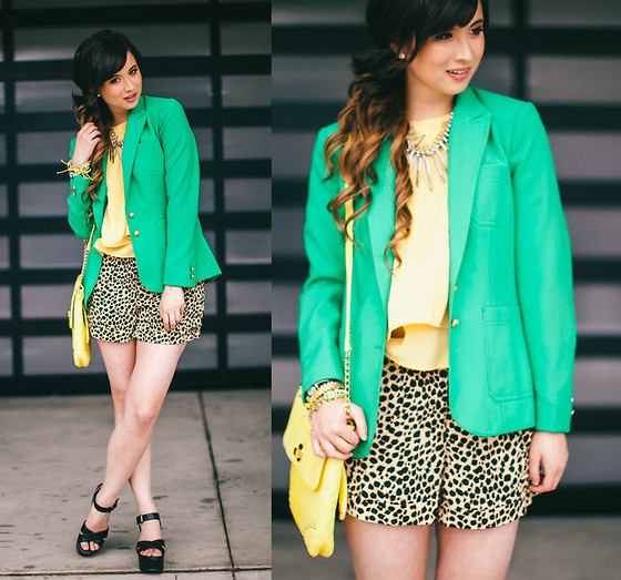 Chesley Tolentino - Thrifted Blazer, No Rest For Bridget Top, Minkpink Shorts - Sunshine Greens