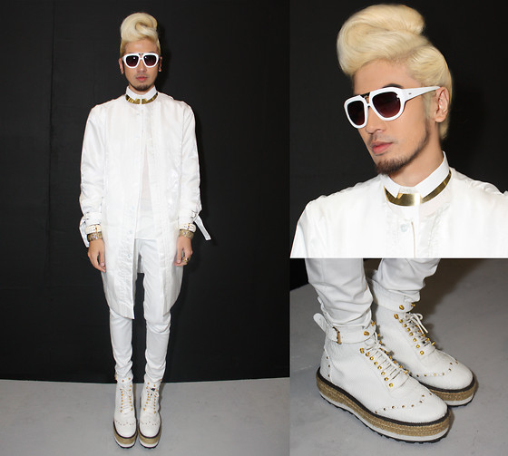 Andre Judd - Protacio Hi Tech Fabric Coat, Shirt And Trousers, Croc Skin Boots, White Frames - WHITE OUT 2010