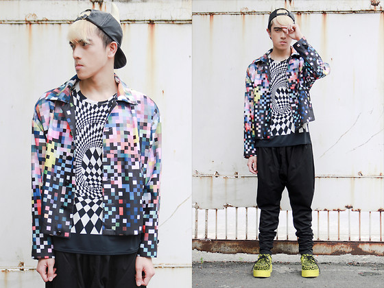 Paul Jatayna - Os Bull Cap, Herbert Custodio Pixel Jacket, Thrifted Printed Shirt, Don Protasio Drop Crotch Trousers, Demonia Creepers - GAMEBOY