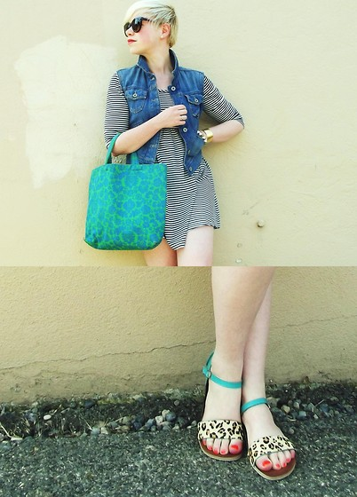 Catie Beatty - Diesel Denim Vest, Forever 21 Dress, Forever 21 Sunglasses, Vintage Tote Bag, Fgyz Sandals - Rainforest/rain city