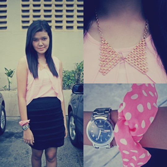 Alex Alfonso - Pink Chiffon Top, Black Bandage Skirt, Pink Usamimi Bracelets, Timex Watch, Collar Necklace - Pretty in PINK