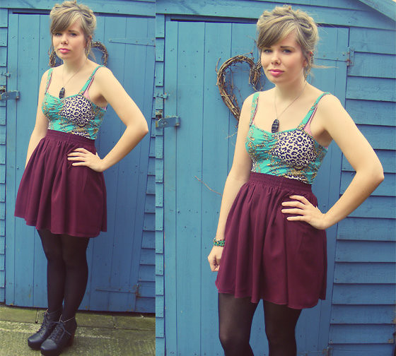 Abbie P - Ark Skirt, New Look Crop Top, Vintage Fair Necklace, Ebay Fake Jc's - Something old, Something new