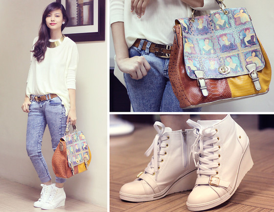 Bea Benedicto - Philosophy Portrait Bag, Korea White Booties, White Sweater - Funny People