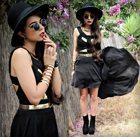 KENDALL SANCHÈZ - Spike Earrings, Lennons, Thrift Hat, Forever 21 Necklace&Cuff, Mom's Closet Gold Dress, Asos Cut Out Dress, Thrift Belt, Cotton On Black Bracelets - .Limbo//Kimbra.