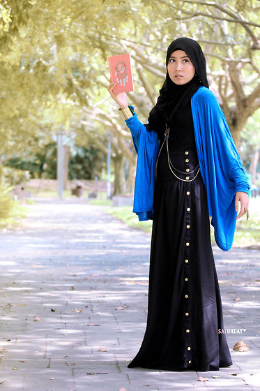 Siti Juwariyah - Skirt, Cotton On Cardigan - Blue & Black