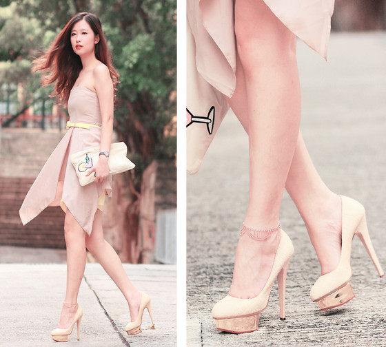 light pink midi H&M skirt - nude Zara shoes - black