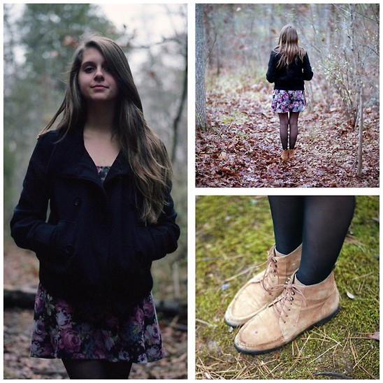 Megan Braaten - Urban Outfitters Black Button Coat, Sparkle & Fade Long Sleeved Flower Dress, Bdg Tan Suede Boots - Old Moon Meets New