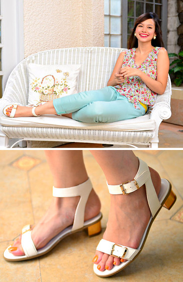 Bea Benedicto - Schu Gold Heeled Sandals, Freshgear Mint Pants, Landmark Floral Top - Golden Garden