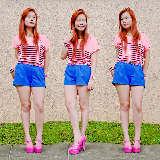 Raizelle So - Aldo Neon Pink Watch, Forever 21 Neon Pink Cropped Top, H&M Royal Blue Shorts, From Hk Star Buckled Belt, Forever 21 Metal Bangle, Sm Department Store Baby Pink Ring - Pink Power