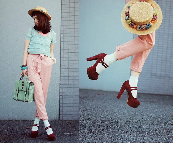 Shan Shan - Romwe Necklace, Romwe Blouse, Sheinside Pants, Sheinside Shoes, Chioes Bag, Stroets Socks - Mint,pink & burgundy