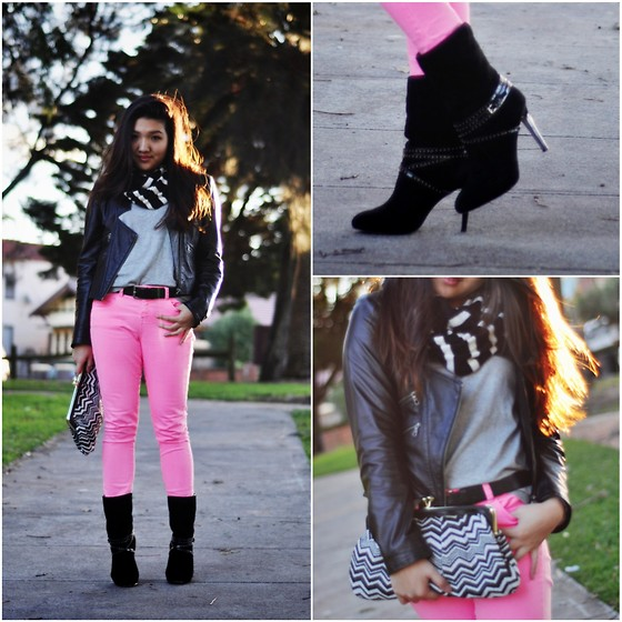 Karen - Charles & Keith Boots, Sportsgirl Clutch, Asos Neon Jeans, H&M Grey Knit - Striped sunset.
