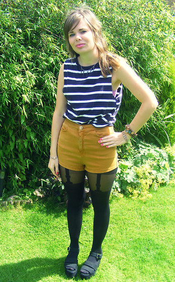 Abbie P - Topshop Shorts, Delilah Dust Necklace, Topshop Top, Tightsplease Tights, Ebay Flatform Shoes - Windswept hair