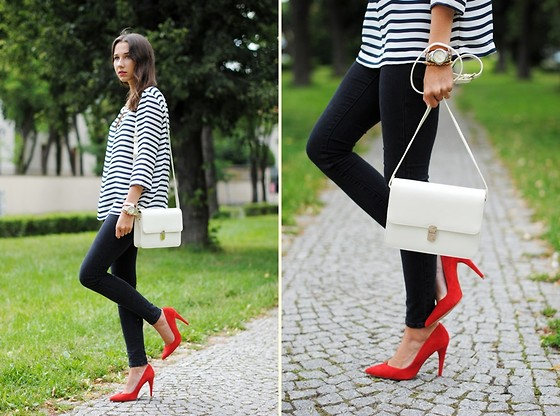 Patrycja R -  - STRIPE SHIRT + RED HEELS