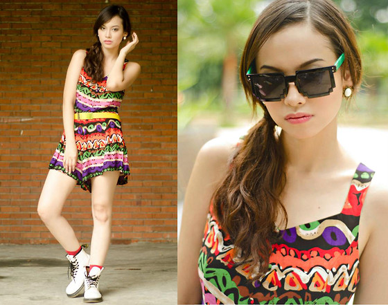 Bea Benedicto - Alter/Ego Tribal Romper, Pixelated Sunglasses - Jamaica