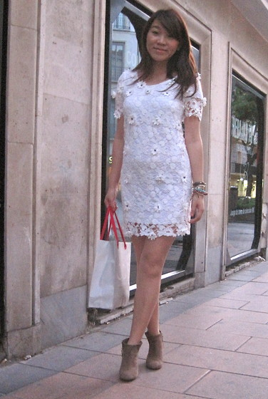 boots with lace dress