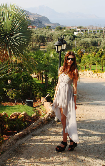 Sophie Bailey - Sheinside Chiffon Swallowtail Dress, H&M Black Wedges, H&M Metal Bangle, Ray Bans - Grecian Expedition