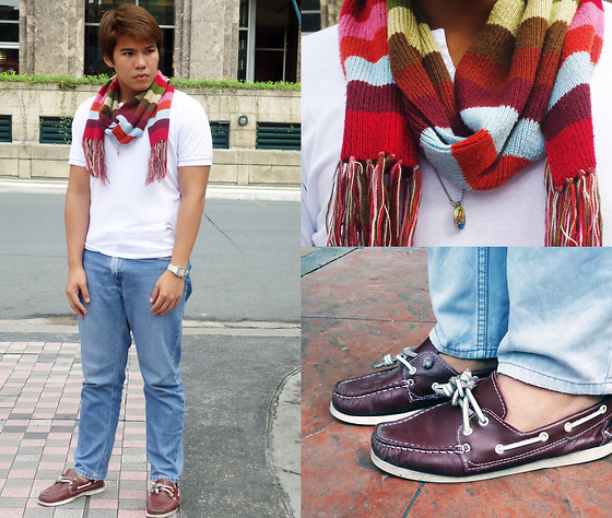 Sef Tiburcio - Kyl's Collection Designer's Scarf, Mint Muscled Top, Black Market Boatshoes - Colors.