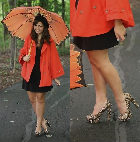 Lauren Pfieffer - Orange Cape, Flower Umbrella, Lbd, Leopard Heels - Leopard + Orange.