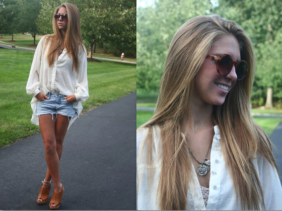 Ally Marie - Urban Outfitters Sunnies, Free People Hi  Lo Blouse, Free People Denim, Dolce Vita Leather And Wood Wedges - New Sunnies