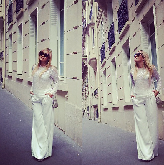Cassandra De La Vega - Zara Top, Céline Sunnies, Vintage Bag - Totally White