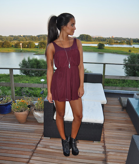 Stephanie Abu-Sbeih - H&M Dress, Jeffrey Campbell Shoes - BURGUNDY
