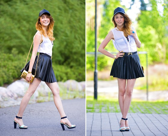 We Inspire Us . - Seppälä Baseball Cap, H&M Color Block Shoes - Baseball Cap and Leather Skirt
