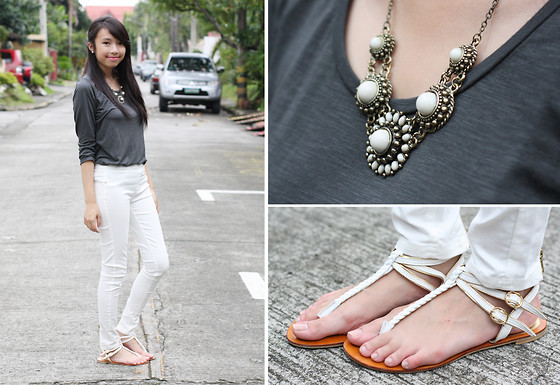 Sophie Ramos - Things That Matter Necklace, Cole Vintage White Sandals, The Overruns Store Gray Top - Grayscale