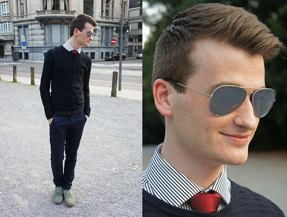 Nino V. - Asos Grey Derby Shoe, Selected Aviator Sunglasses, Ralph Lauren White & Black Striped Shirt, Zara Burgundy Silk Tie, Giorgio Armani Ribbed Sweater, Louis Vuitton Initials Belt In Damier Graphite, Zara Skinny Suit Pants - Blue is the new black