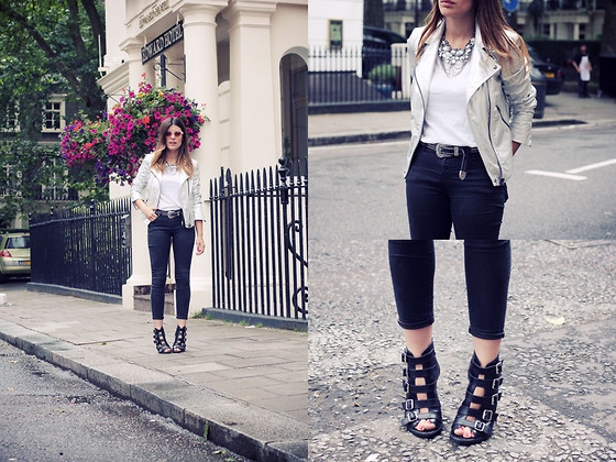 Aida Domenech Aida D - Zara Jacket, Zara Shirt, Topshop Sunglases, Topshop Pants, Topshop Shoes, Forever 21 Neackles - Silver fully