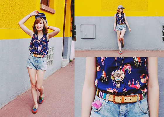 Typhaine - Top, Topman Cap, Asos Necklace, Vintage Belt, Homemade Shorts, Vintage Shoes - Colorama.