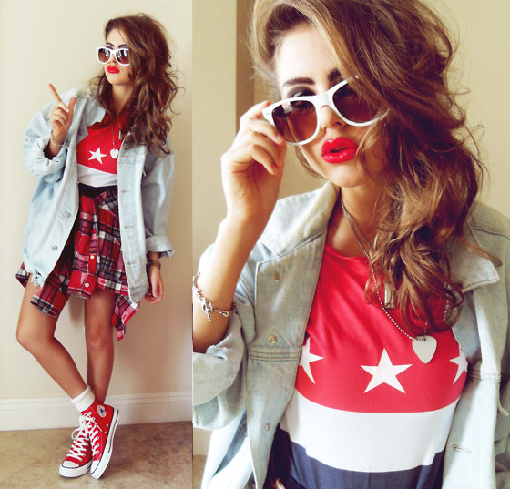 Bebe Zeva - Foster Grant White Wayfarers, Guess? Light Wash Denim Jacket, Oasap American Flag Print Top, A&F Plaid Flannel, Converse High Tops - ALL ★ STAR