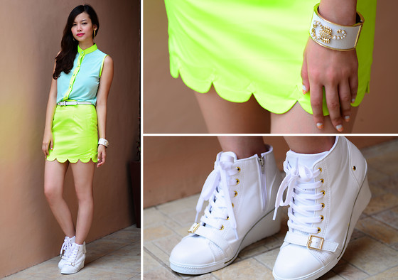 Bea Benedicto - Alter/Ego Neon Green Scallop Skirt, Alter/Ego Teal And Neon Top - Jetson