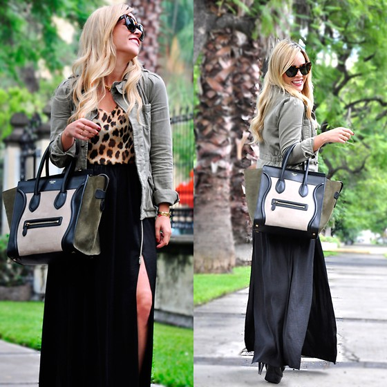 Cassandra De La Vega - Céline Bag, Céline Sunglasses, Urban Outfitters Jacket, Zara Top - Animal print and military jacket