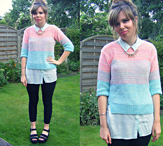 Abbie P - Tesco Dip Dye Sweater, H&M Collared Top, New Look Spike Necklace, Jane Norman Flatforms - Minty Fresh