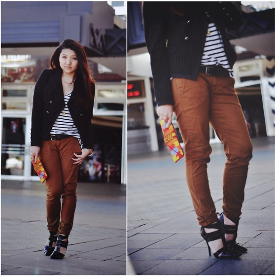 Karen - Raven Denim Chinos, Alexander Wang Danica, Bassike Striped Tee - I like your steeze, your style.
