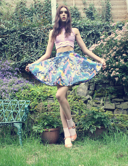 Sophie Bailey - Fairground Kimbra Party Skirt, Topshop Peach Wooden Heels, Fairground Bondage Top - Mother Of Pearl