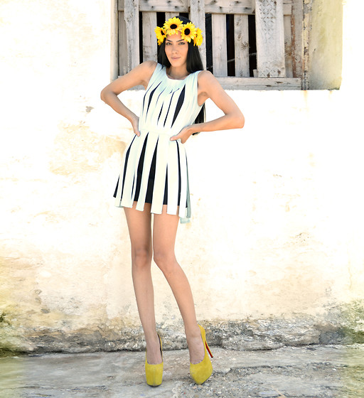 "Konstantina Tzagaraki - Dress, Diy Headband, Christian Louboutin Pumps - Watching the ""sun"" go by.."