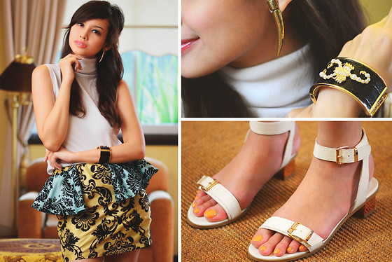 Bea Benedicto - Alter/Ego Peplum Skirt, Schu White Sandals, Sm Tusk Earrings, Landmark Scorpion Cuff - Curtain Call