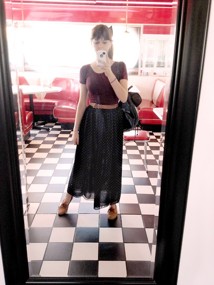 Megan Braaten - American Apparel Cotton Spandex Jersey Crop Top, Thrifted Leather Belt, American Apparel Double Layered Polka Dot Chiffon Full Length Skirt, Thrifted Two Toned Leather Book Bag, American Apparel Amanda Shoe - Georgie's Diner