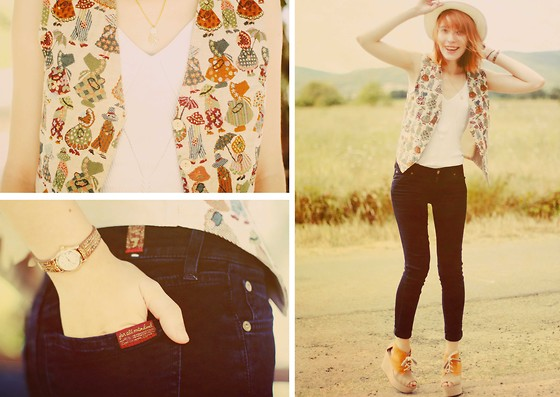 Typhaine - Vintage Top And Vest, 7 For All Mankind Jeans, H&M Shoes, Urban Outfiters Watch - Dal-toon.
