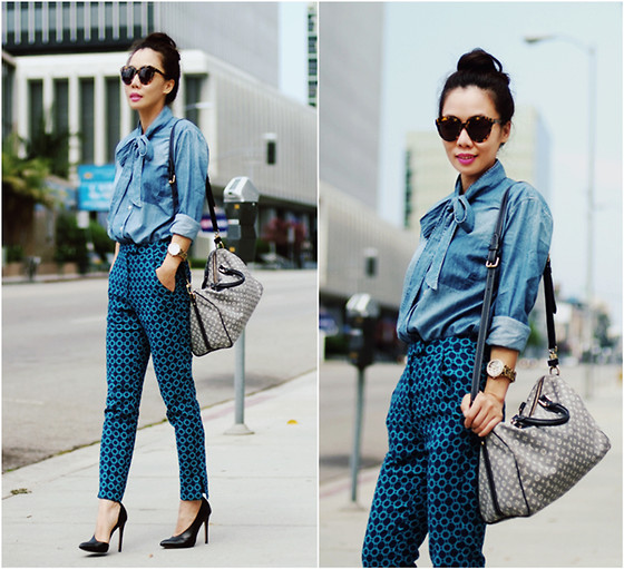 Hallie S. - Shine Denim Shirt, Asos Pants, Zara Pumps, Guess? Watch, Louis Vuitton Bag - Bow Denim