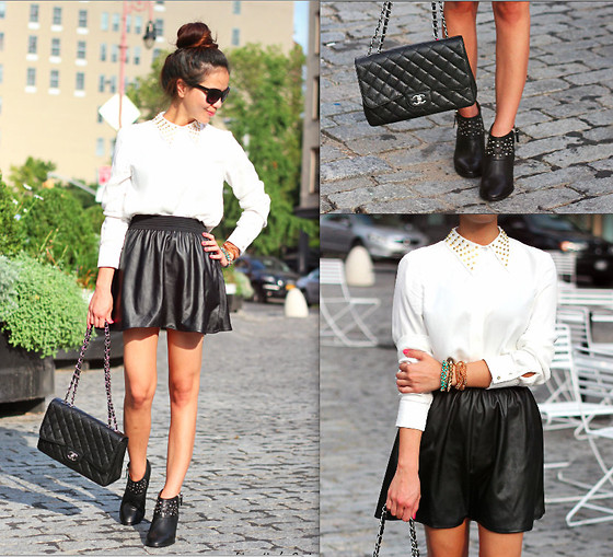 Leah Ho - Chanel Bag, Asos Leather Skirt, Asos Leather Sjirt, Zara Shirt - BLACK & WHITE