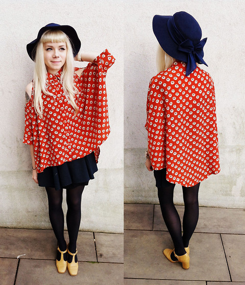 Kate G - Flower Print Blouse (:, Vintage Bow Hat, Vintage Mustard Shoes! - Back up north again