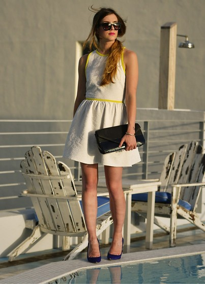 Laura Ellner - Michael Kors Shoes, Topshop Dress, Pour La Victoire Clutch, Bcbg Sunglasses - Poolside