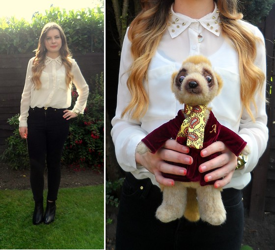 Danielle Wainwright - Diy Studded Shirt, River Island High Waisted Jeans, Topshop Boots - Studs and meerkats
